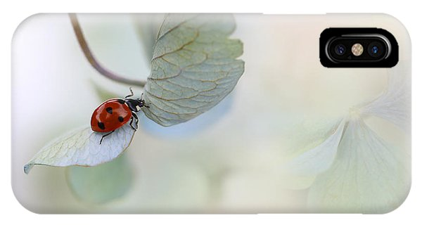 Red iPhone X Case - Ladybird On Blue-green Hydrangea by Ellen Van Deelen