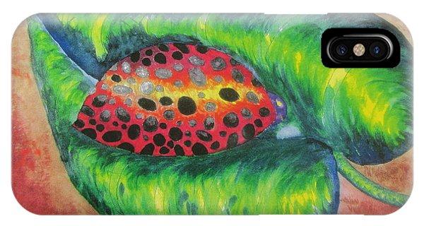 Ladybug On A Leaf Phone Case by Debbie Nester