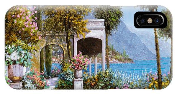 IPhone Case featuring the painting Lake Como-la Passeggiata Al Lago by Guido Borelli