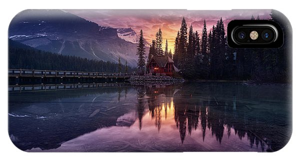Fir Trees iPhone Case - Lake House Sunrise by Jes?s M. Garc?a