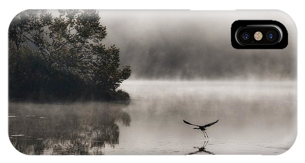 Lake Logan Fog And Heron - Flight IPhone Case