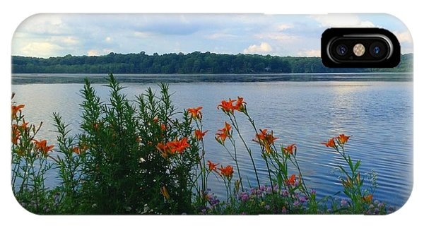 Lake Muscenetcong And Wild Flowers In Netcong New Jersey IPhone Case