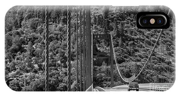 Lake Oroville Bridge Black And White IPhone Case