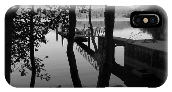 Lake Padden Reflection In Black And White IPhone Case