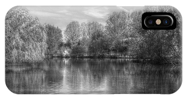 IPhone Case featuring the photograph Lake Reflections Mono by Jeremy Hayden
