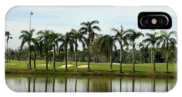 Lake Sand Traps Palm Trees And Golf Course Singapore IPhone Case