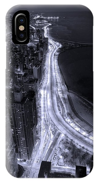 University Of Illinois iPhone Case - Lake Shore Drive Aerial  B And  W by Steve Gadomski