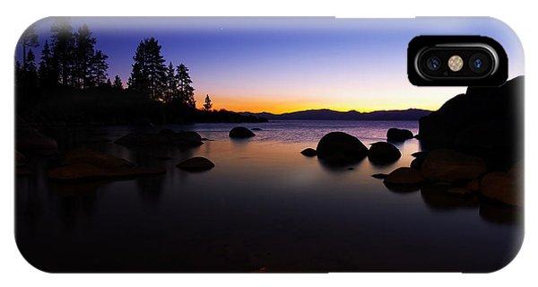 Lake Tahoe Sand Harbor Sunset Silhouette IPhone Case