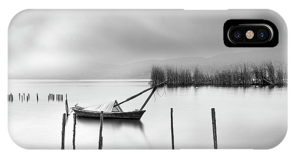 Pier iPhone Case - Lake View With Poles And Boat by George Digalakis