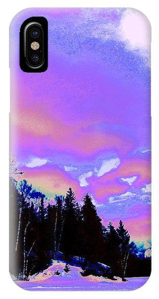 Treeline iPhone Case - Winter  Snow Sky  by Expressionistart studio Priscilla Batzell