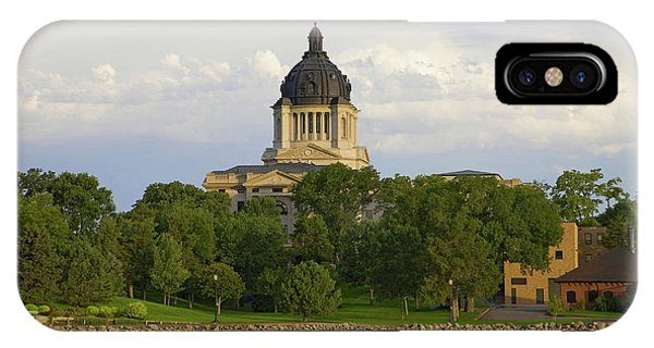 Capitol Building iPhone Case - Lake With View Of South Dakota State by Panoramic Images