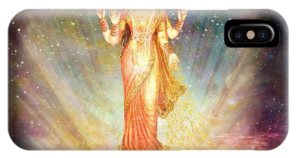 Lakshmi Goddess Of Abundance Rising From A Galaxy Phone Case by Ananda Vdovic