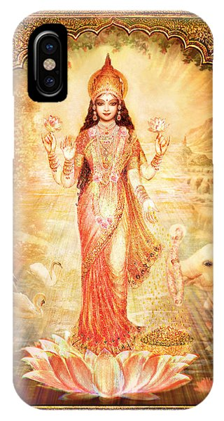 Lakshmi Goddess Of Fortune With Lighter Frame Phone Case by Ananda Vdovic