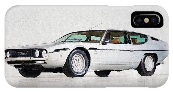 Classic Cars iPhone Case - Lamborghini Espada Watercolor by Naxart Studio