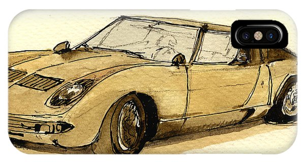 Vehicles iPhone Case - Lamborghini Miura by Juan  Bosco