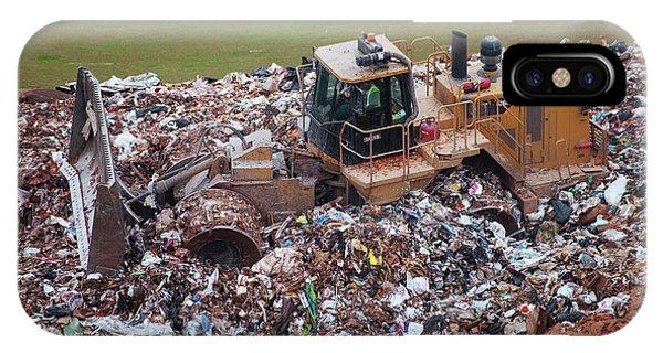 Rubbish Bin iPhone Case - Landfill Waste Disposal Bulldozer by Peter Menzel