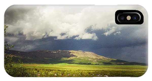 Beautiful Landscape iPhone Case - Landscape And Cloudy Sky In Iceland by Matthias Hauser