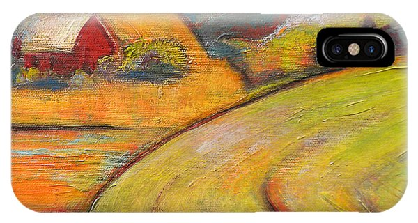 Farm iPhone Case - Landscape Art Orange Sky Farm by Blenda Studio