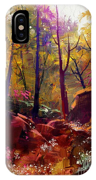 Bright iPhone Case - Landscape Painting Of Beautiful Autumn by Tithi Luadthong