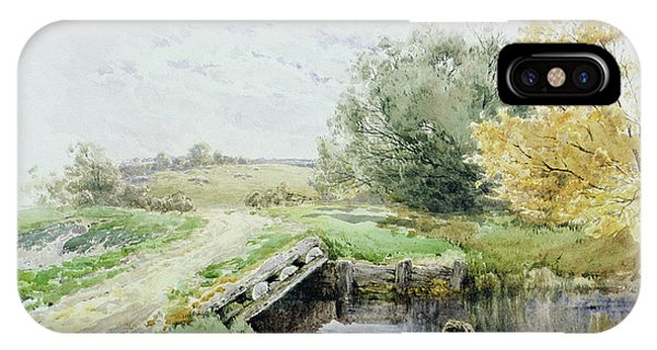 Clayton iPhone Case - Landscape With Bridge Over A Stream by John Clayton Adams