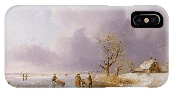 Neighborhood iPhone Case - Landscape With Frozen Canal by Remigius van Haanen