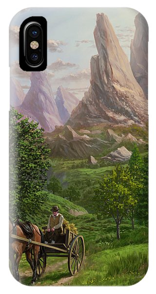 Landscape With Man Driving Horse And Cart IPhone Case