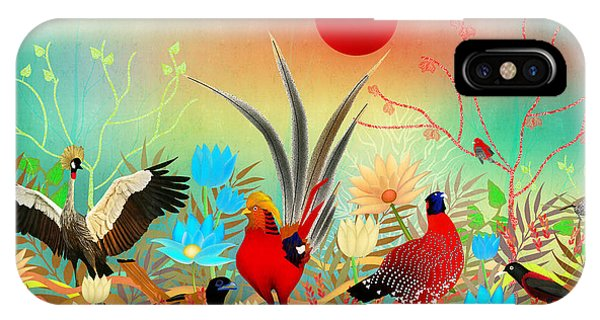 Landscapes With Birds And Red Sun - Limited Edition Of 15 IPhone Case
