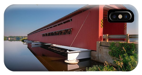 Covered Bridge iPhone Case - Langley Covered Bridge Michigan by Steve Gadomski