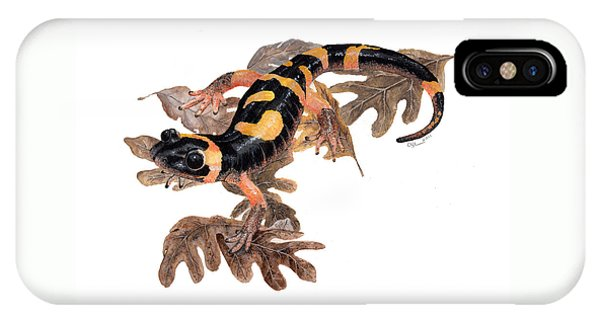 Large Blotched Salamander On Oak Leaves IPhone Case