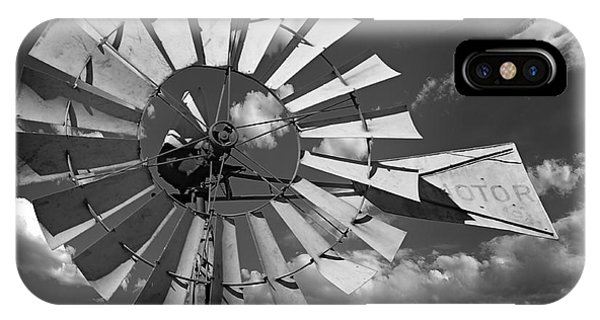 Large Windmill In Black And White IPhone Case
