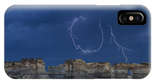 Lariat Lightning At Monument Rocks IPhone Case