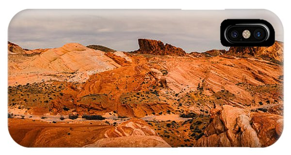 Valley Of Fire iPhone Case - Las Vegas Nevada Mojave Desert Valley Of Fire Panorama by Silvio Ligutti