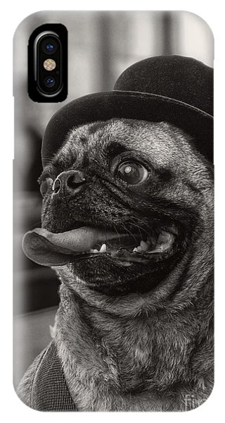 Pug iPhone X Case - Last Call Pug Greeting Card by Edward Fielding