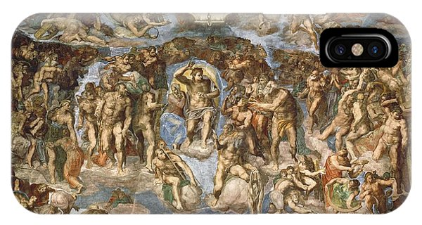 Anguish iPhone Case - Last Judgement, From The Sistine Chapel, 1538-41 Fresco by Michelangelo Buonarroti