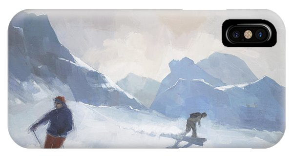 IPhone Case featuring the painting Last Run Les Arcs by Steve Mitchell