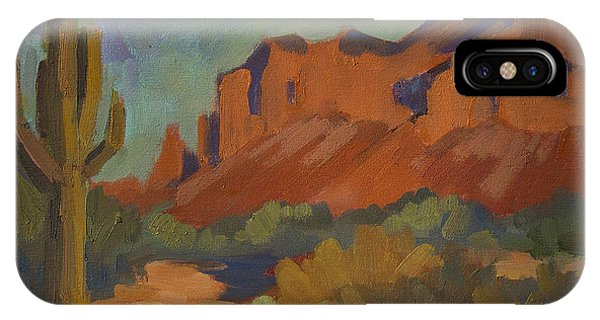 Cactus iPhone Case - Late Afternoon Light At Superstition Mountain by Diane McClary
