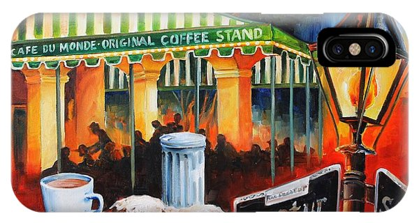 Street Sign iPhone Case - Late At Cafe Du Monde by Diane Millsap