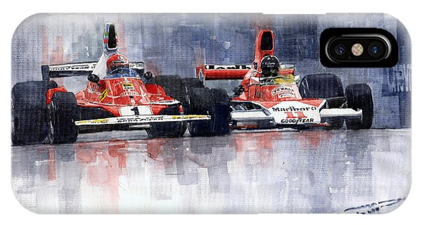 Car iPhone X Case - Lauda Vs Hunt Brazilian Gp 1976 by Yuriy Shevchuk