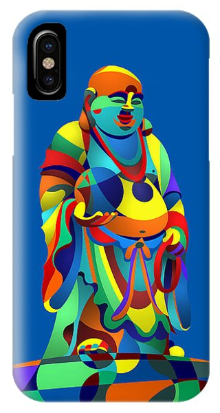 Laughing Buddha Blue IPhone Case