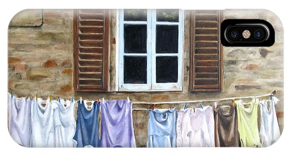Laundry Day In Tuscany Phone Case by Karen Olson