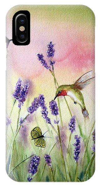 Hummingbird iPhone Case - Lavender And Hummingbirds by Patricia Pushaw