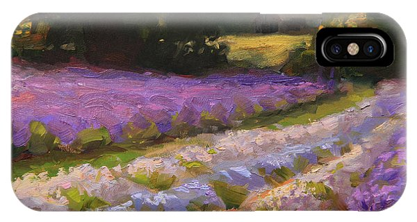 Lavender Farm Landscape Painting - Barn And Field At Sunset Impressionism  IPhone Case