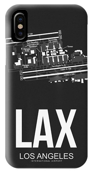 Airplane iPhone Case - Lax Los Angeles Airport Poster 3 by Naxart Studio