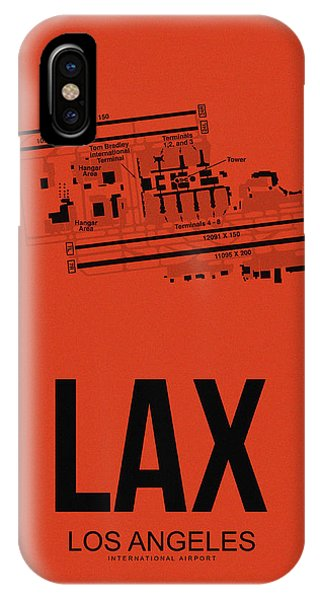 Travel iPhone Case - Lax Los Angeles Airport Poster 4 by Naxart Studio