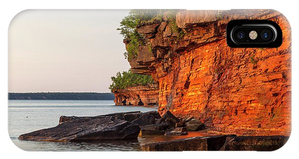 Lake Superior iPhone Case - Layered Sandstone Cliffs And Sea Caves by Chuck Haney
