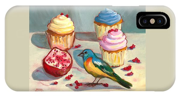 Lazuli Bunting And Pomegranate Cupcakes IPhone Case