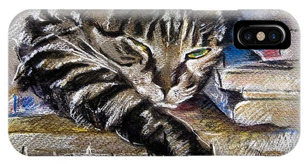 Lazy Cat Portrait - Drawing IPhone Case