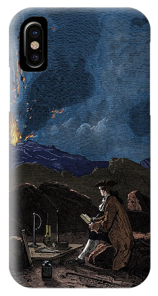 Mt Etna iPhone Case - Lazzaro Spallanzani Observing Mount by Science Source