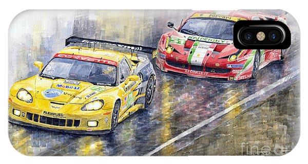 2011 Le Mans Gte Pro Chevrolette Corvette C6r Vs Ferrari 458 Italia IPhone Case