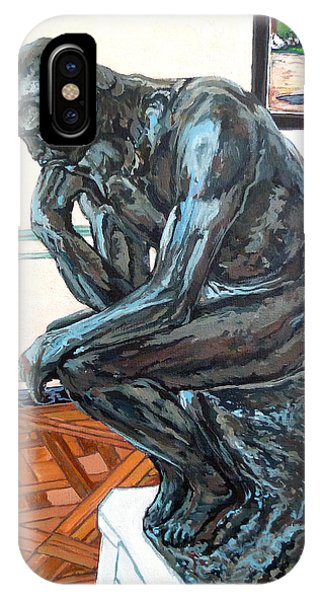 IPhone Case featuring the painting Le Penseur The Thinker by Tom Roderick